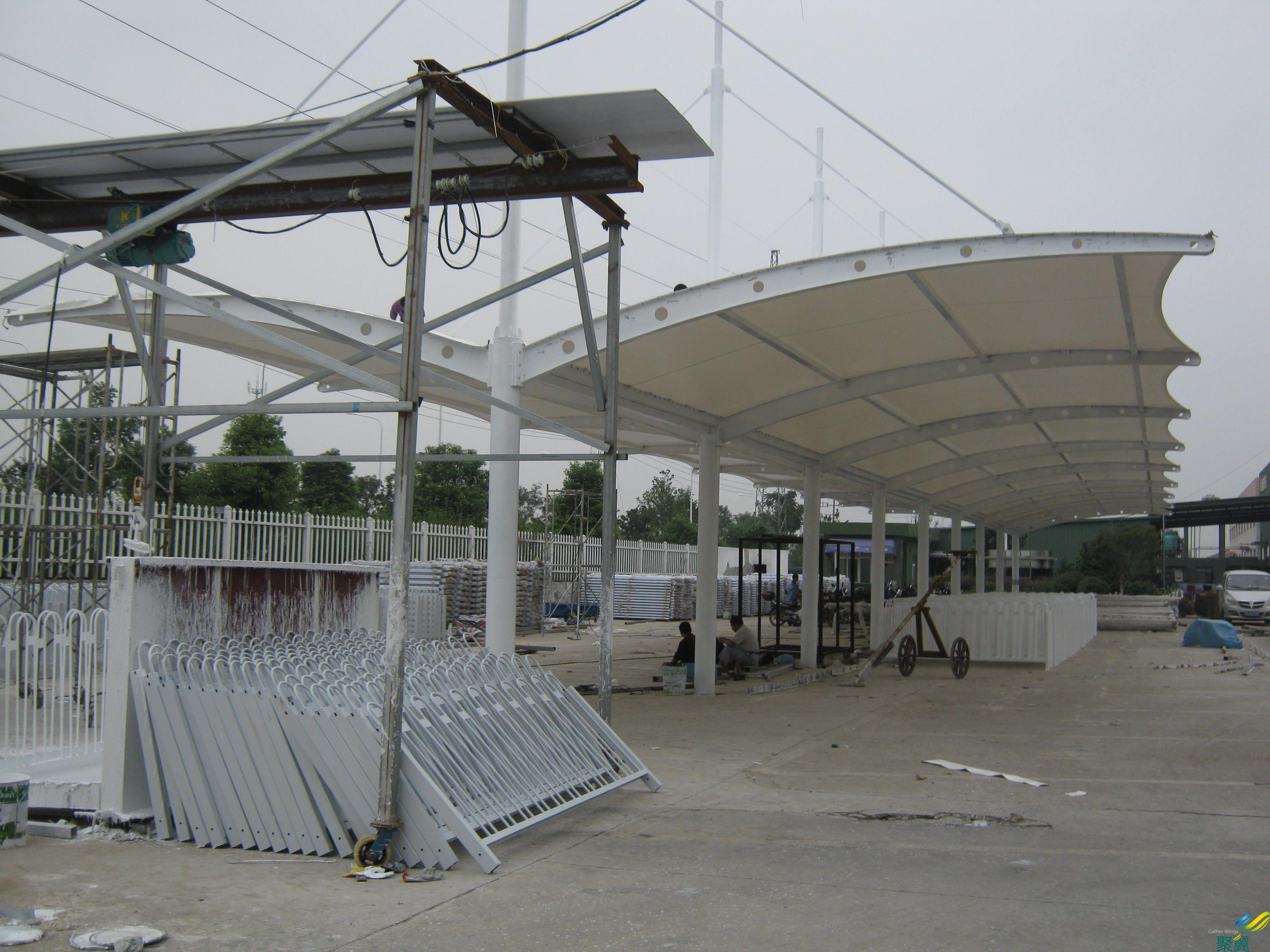 厂区停车棚_膜结构车棚(白色)双面遮阳棚