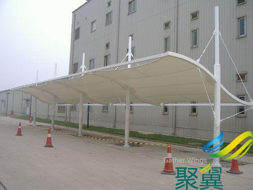 工厂专用膜结构车棚_厂区停车专用棚