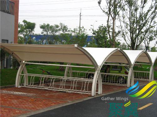 學生單車遮陽棚,自行車停車棚夏季遮陽