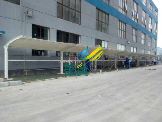 嘉定外岗镇膜结构电动自行车棚安装
