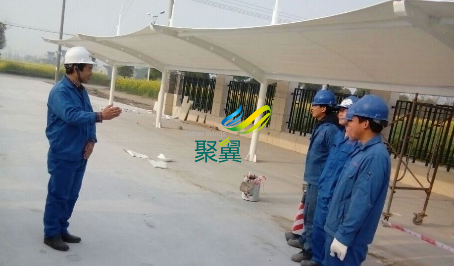 江苏省泰州市膜结构车棚施工案例