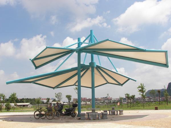 公园膜伞膜结构遮阳棚JY-100MS,遮阳棚景观安装定制