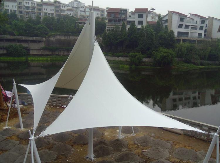 张拉膜结构钢索景观棚安装    型号JY-100GS