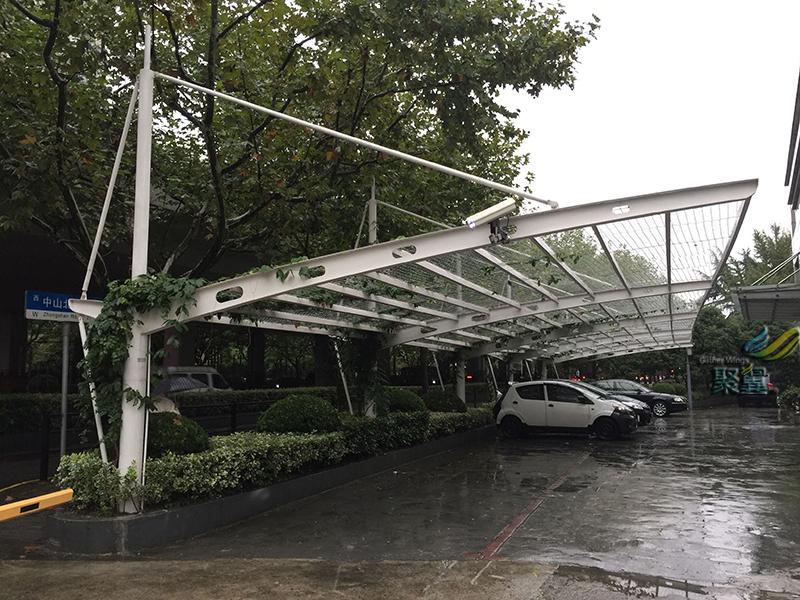 新型停车棚,JY-60LZ绿植膜结构车棚