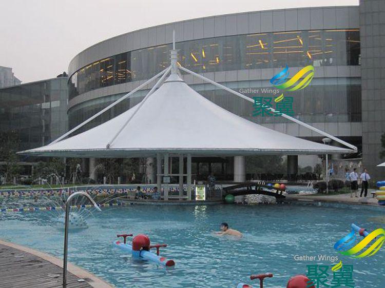 冰川世界泳池膜结构雨篷款式设计定做安装