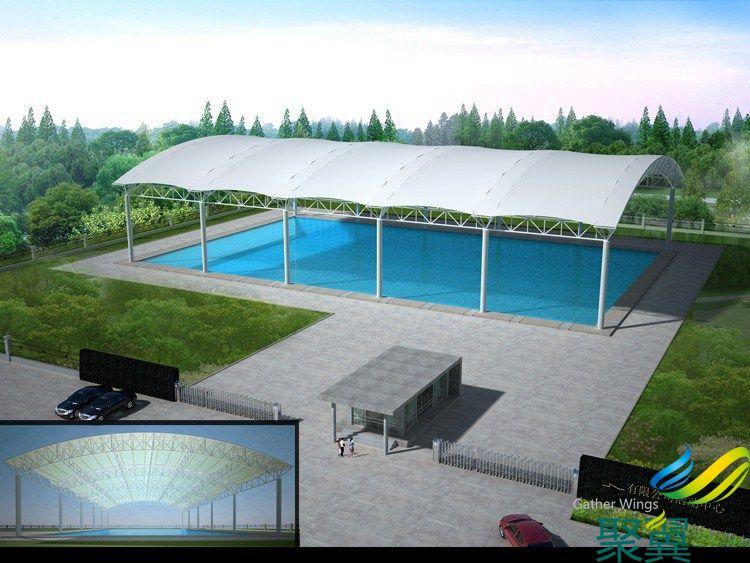 上海市露天别墅泳池膜结构设计 聚翼露天膜结构遮阳棚