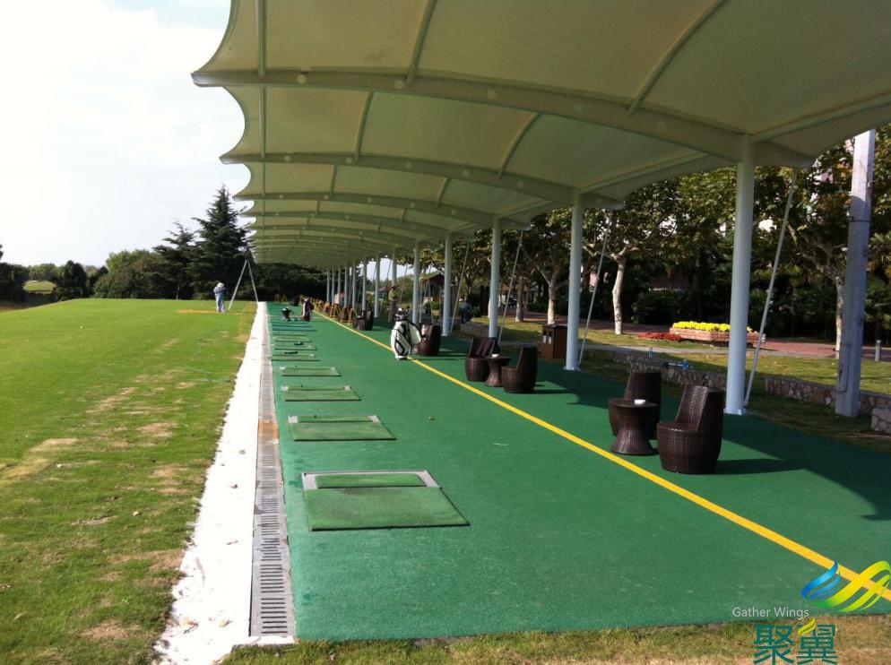 高尔夫看台膜结构遮阳棚 发球台景观遮阳工程施工