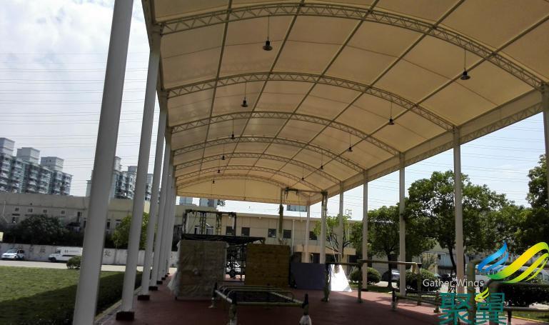 浦东体育馆遮阳棚施工案例 膜结构遮阳棚定制 可免费测量