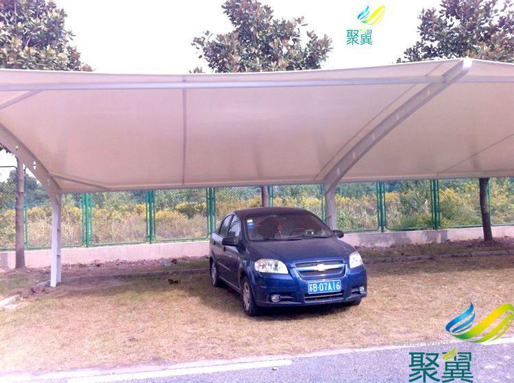 上海松江大学城广场膜结构汽车遮阳棚|汽车遮阳棚完工展示