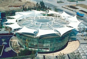 上海赛车场PTFE膜材结构案例 膜结构遮阳棚 体育馆遮阳棚