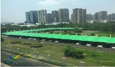 绿色膜结构车棚,膜结构车棚多色,环绕型大型车棚