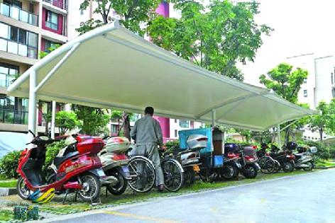 上海膜结构车棚自行车棚的安装工艺*膜结构车棚注意事项