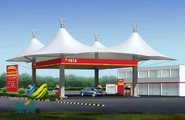 新颖美观钢加油站膜结构车棚特点 膜结构车棚优势