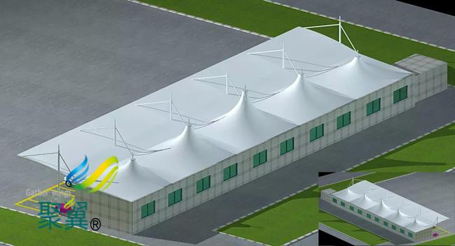 冒顶膜结构车棚设计|钢膜结构停车棚订做