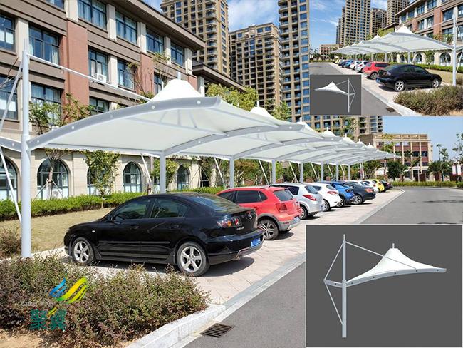 钢膜结构车棚汽车棚|专业停车棚自行车棚公司