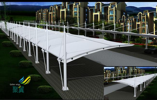钢膜结构汽车棚膜结构车棚停车棚加工厂家