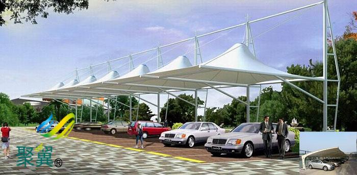 武汉汽车膜结构自行停车棚膜体安装工程