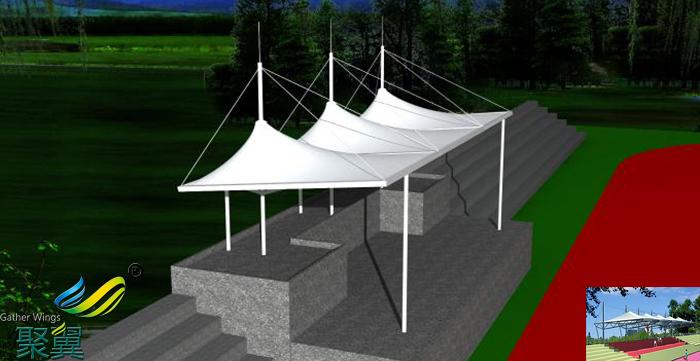 山西膜结构体育看台场馆平面图
