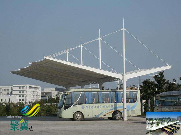 大巴车露天停车棚基础设计平面图生产厂家