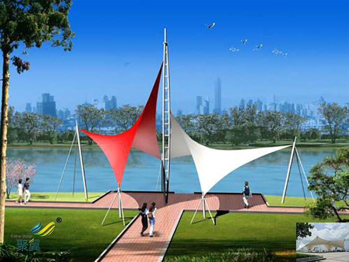山东膜结构景观张拉膜雨棚公司工程价格设计图片