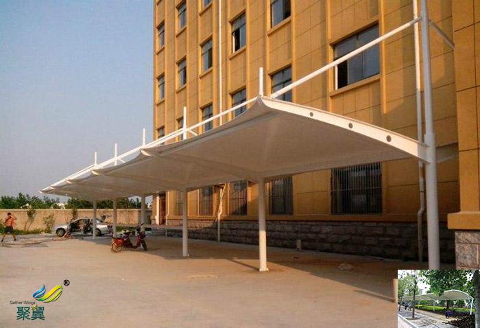 沈阳景观膜结构学校停车棚报价单效果图cad图纸