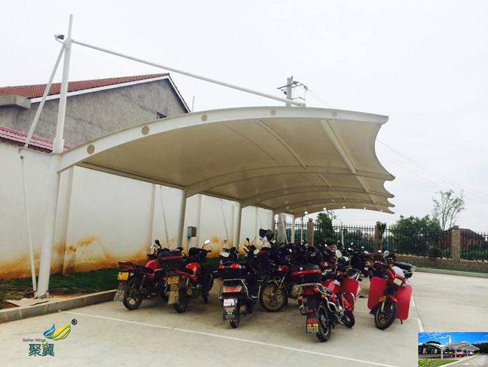 上海钢膜结构汽车自行停车棚厂家定制安装工程
