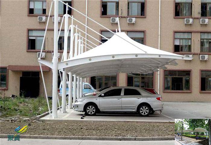 陕西安装膜结构汽车停车棚景观棚工程图纸