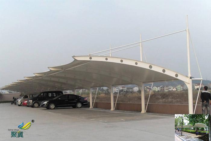 义乌安装膜结构汽车停车棚景观棚图片厂家报价工程