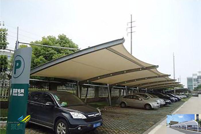 杭州实惠的膜结构自行汽停车棚图片厂家供应工程