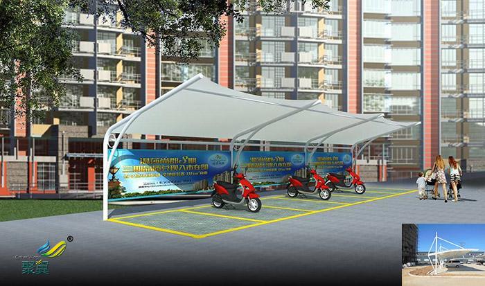 浙江景观膜结构棚汽车停车棚公司工程设计图片