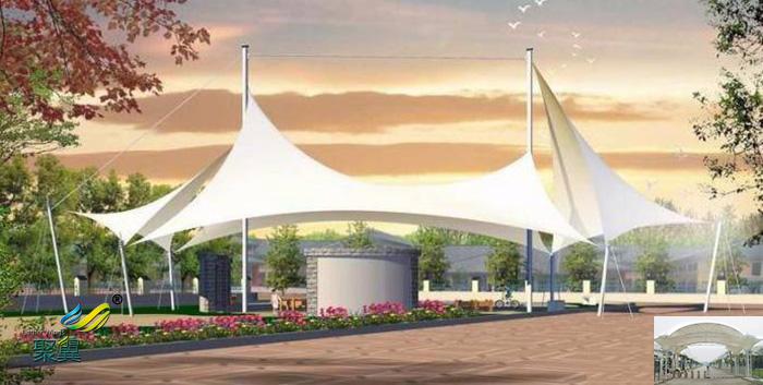 广西膜结构室内张拉膜伞景观棚、景观小品报价施工规格