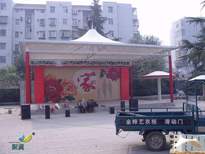 重庆搭建屋顶舞台膜结构雨棚设计效果图