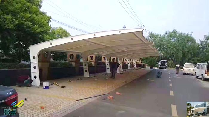 武汉景观张拉膜结构停车棚设施设计图片厂家工程