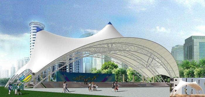 重庆社区演出屋顶舞台膜结构遮阳篷效果图
