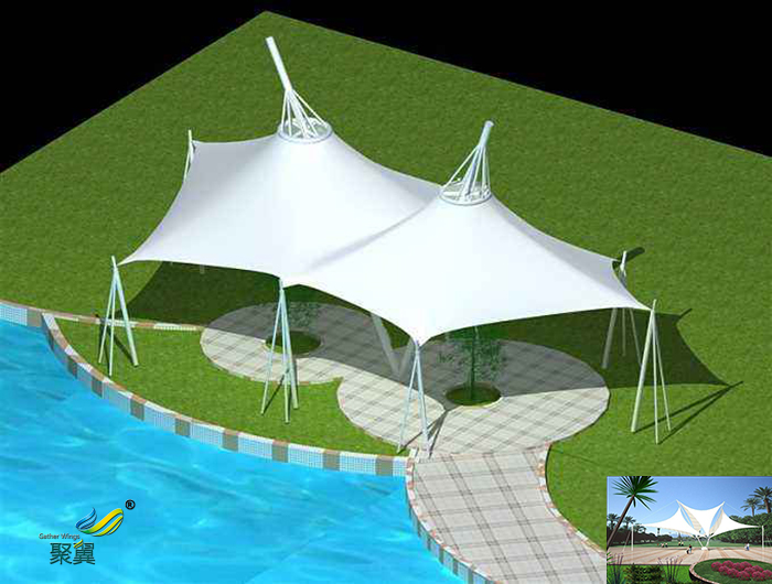 安徽膜结构室内公园张拉膜景观棚施工效果图材质加工设计