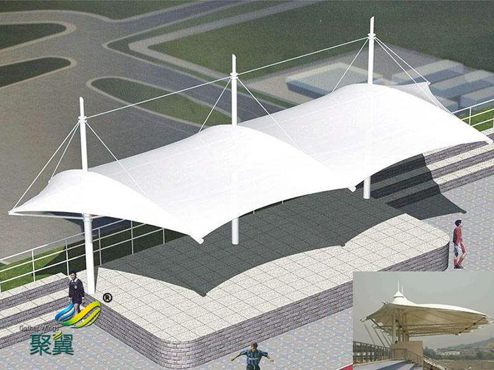 陕西加强充气式膜结构体育看台场馆造型设备方案图