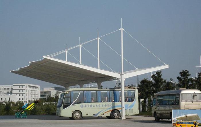 莆田钢膜结构大巴车露天停车棚基础设计效果图