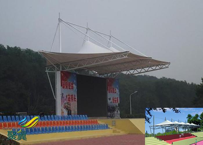 长沙露天膜结构体育场看台球场膜雨棚设计分布图
