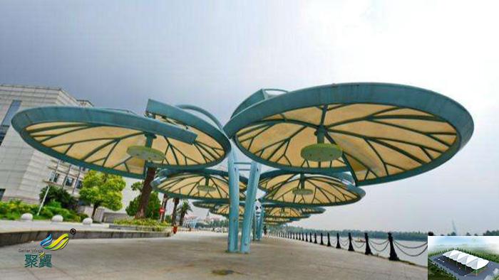 湖南膜结构公园舞台张拉膜景观棚批发效果图材质