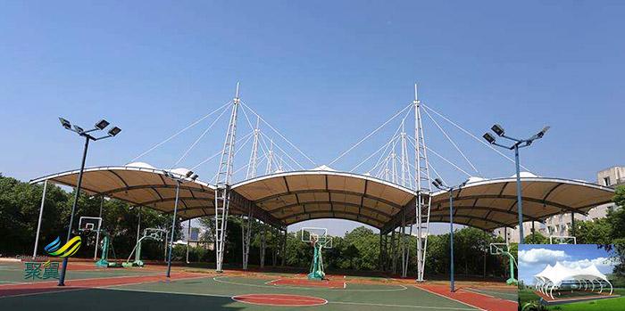 山西省膜结构体育中心看台球场膜防水设计效果图