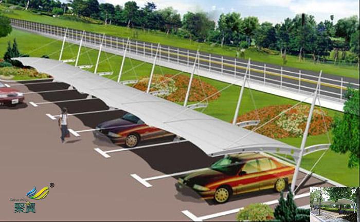杭州钢膜结构汽车停车棚图片厂家供应工程