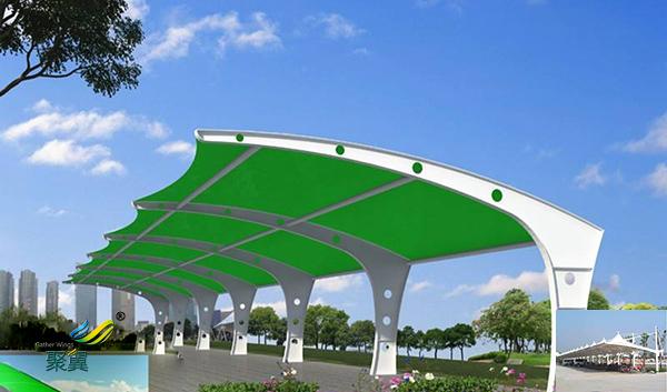 苏州户外景观钢膜结构汽车停车棚安装施工方案图纸公司哪