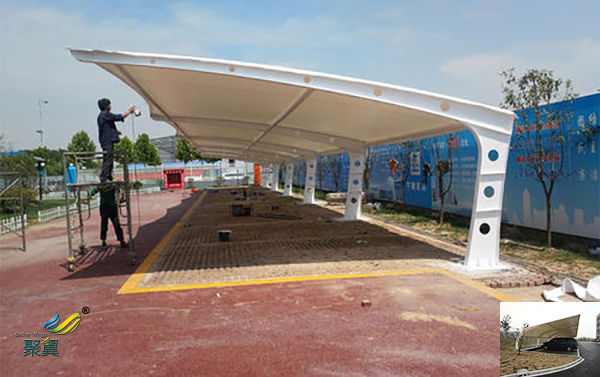 张家港膜结构汽车停车棚景观棚哪家好图纸工程