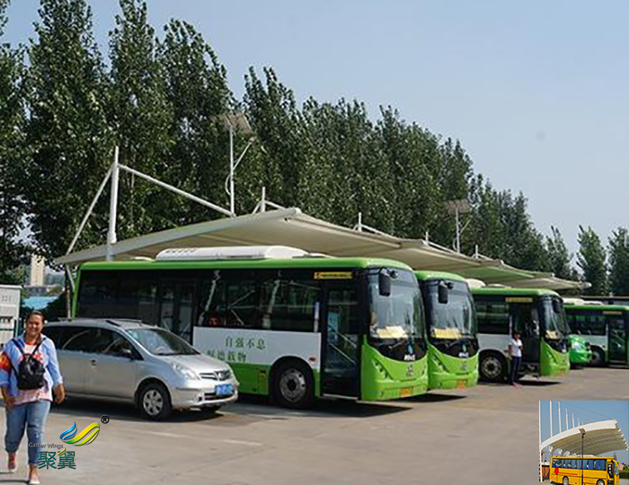杭州膜结构大巴汽车停车棚图片厂家工程