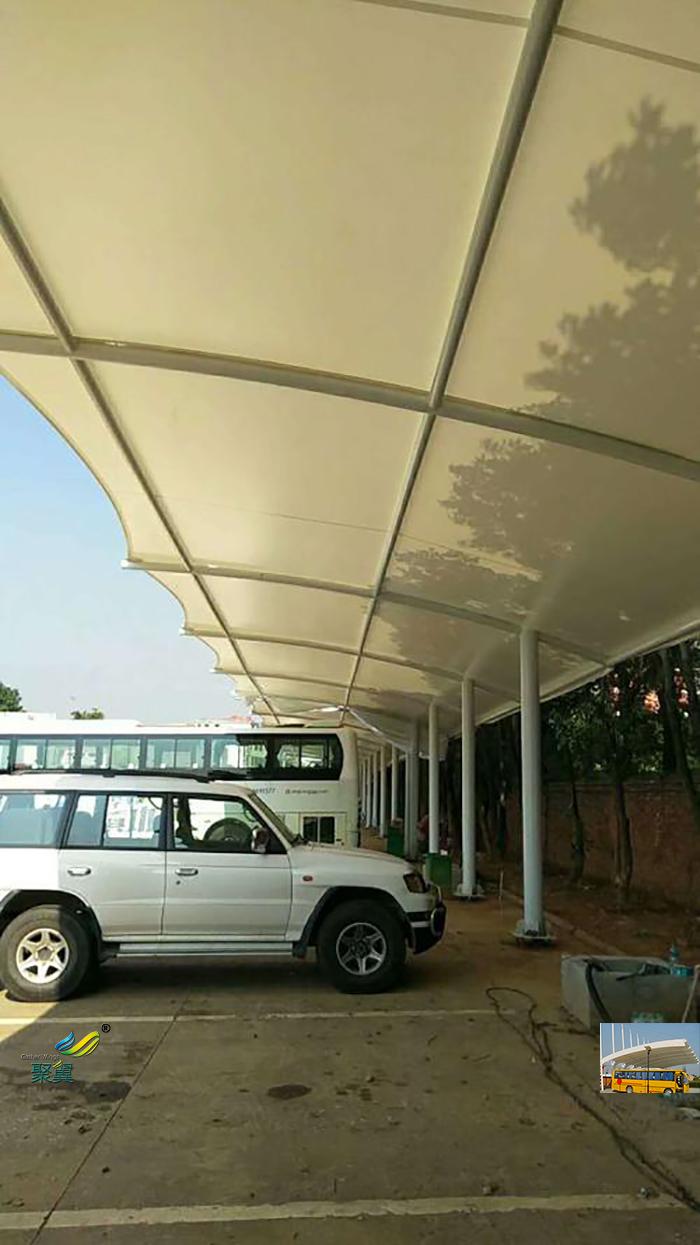 合肥张拉钢膜结构大巴汽车停车棚安装施工方案效果图