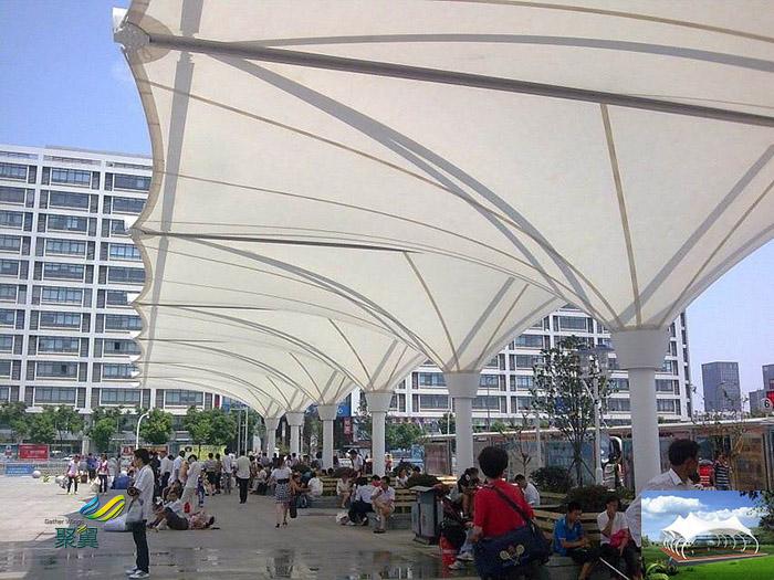 上海膜结构露天体育看台球场膜尺寸设计施工效果图