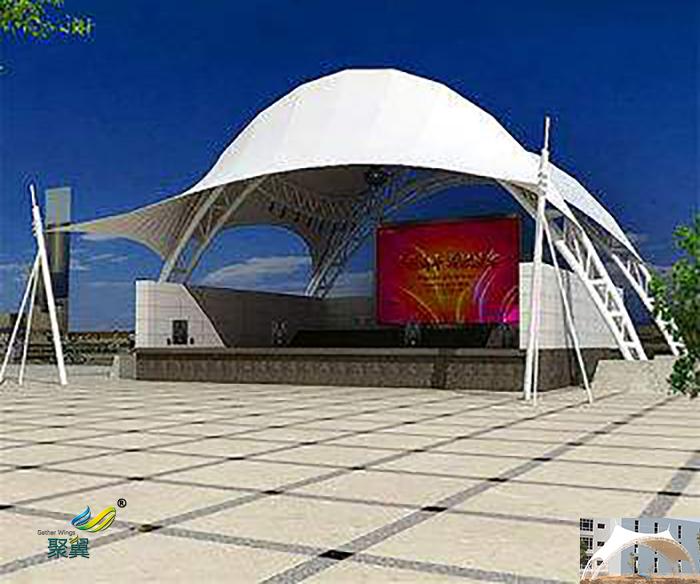马鞍山演出张拉户外屋顶舞台膜结构顶棚设计效果图