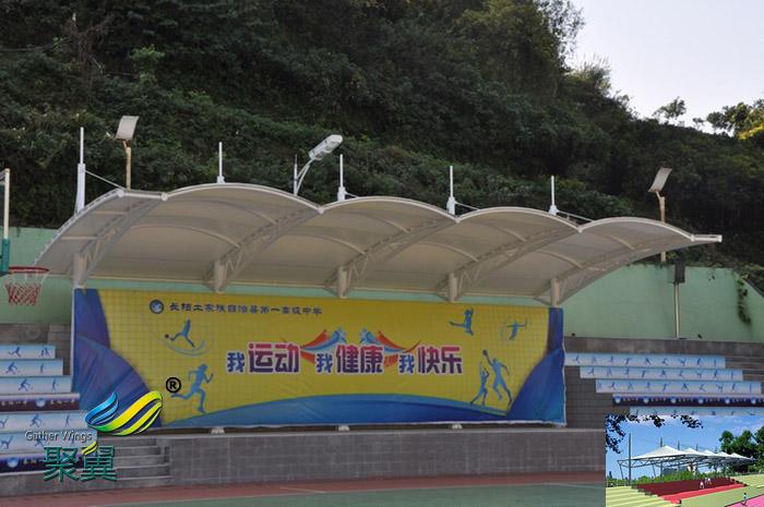 上海膜结构体育防雨看台球场膜场馆设计方案图