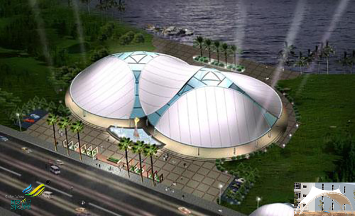 安康屋顶操场舞台膜结构遮阳篷雨棚多少钱一平方