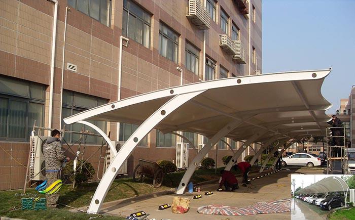 宁波汽车停车棚景观棚张拉膜结构公司设计设施工程